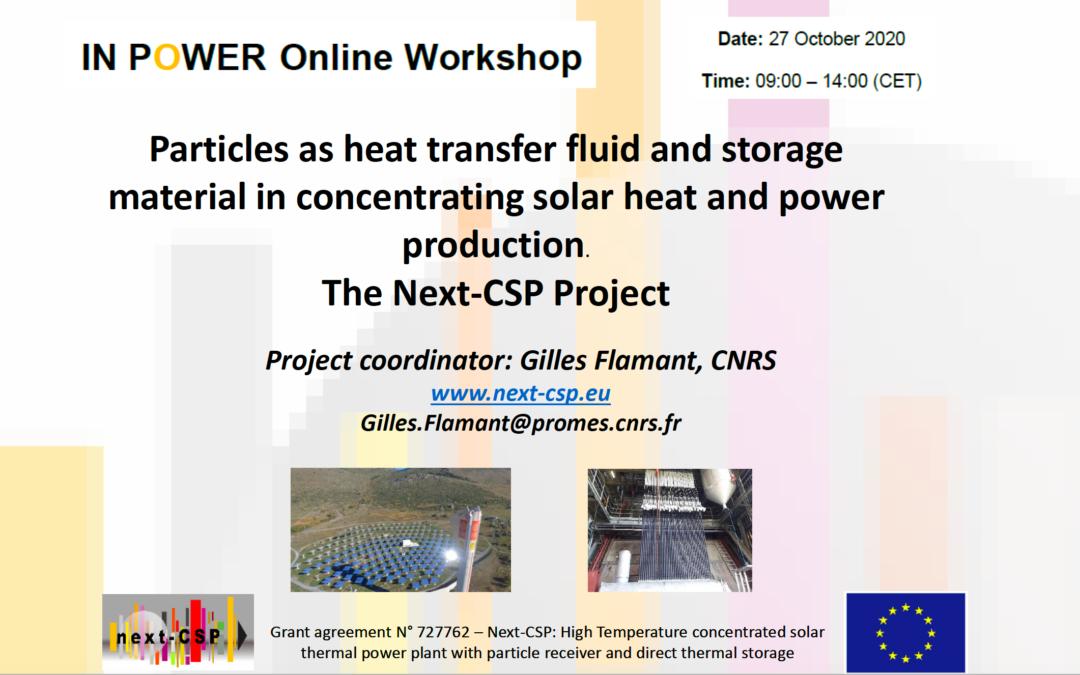 Next-CSP Presentation at IN POWER online workshop